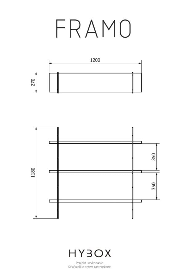 wymiary regału industrialnego FRAMO z oferty firmy HYBOX